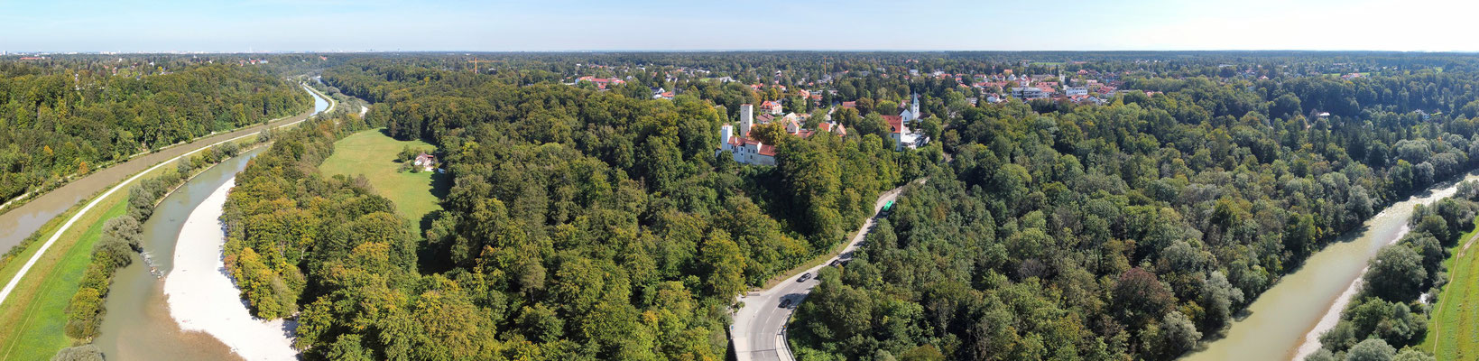 Panorama, Drohnenfotografie, Grünwald, Brücke, Isar, Serpentin, Kanal, Wald, Burg