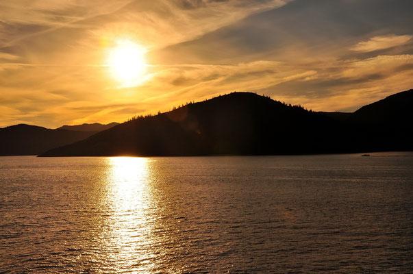 Neuseeland, Südinsel, Küste, See, Meer, Picton, Sonnenuntergang