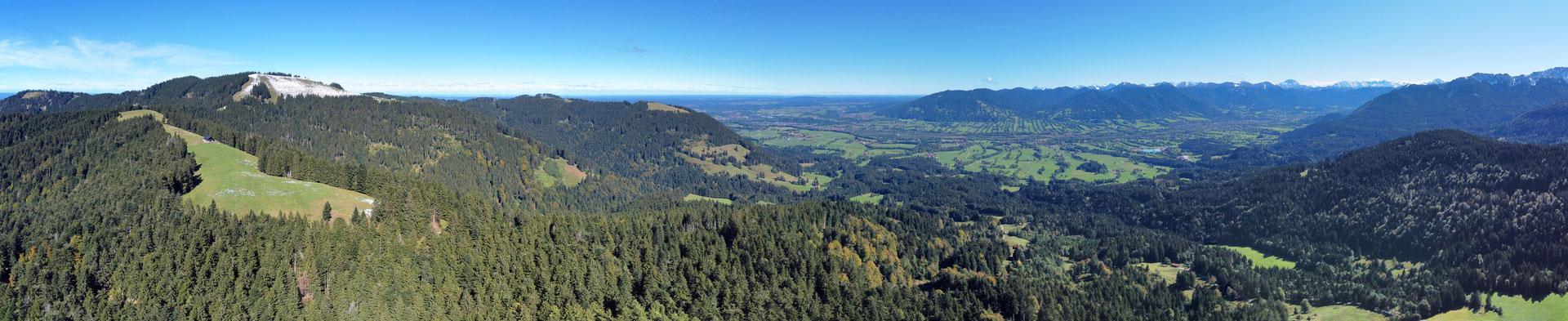 Panorama, Drohnenfoto, Zwieselberg, Rund um Blick, Grat, Bäume, Wald