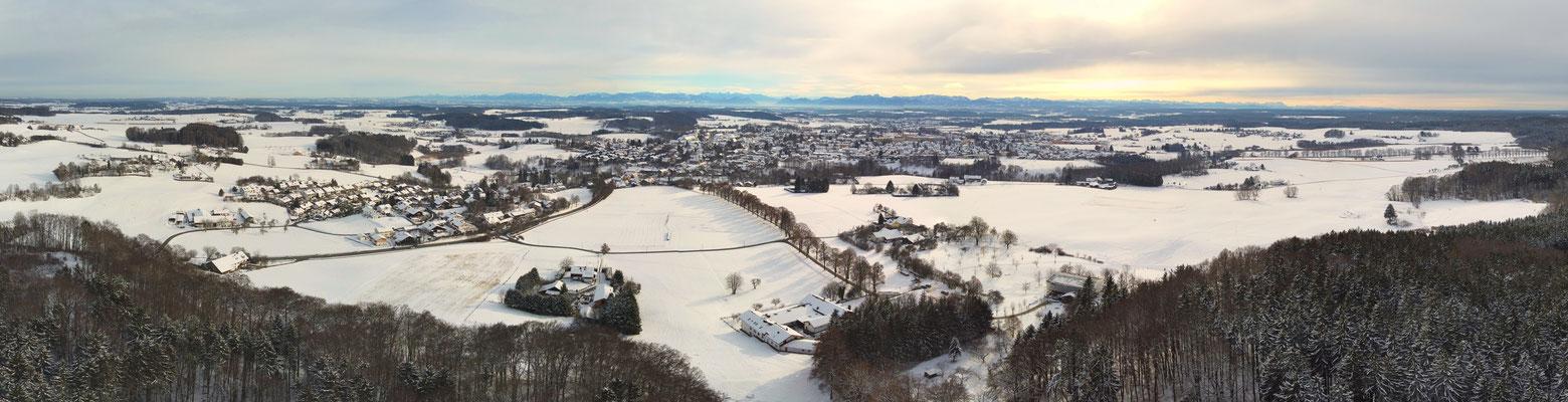 Panorama - Drohnenfoto - Berge - Alpen - Wanderung - Winter -Ebersberg