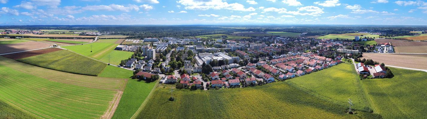Panorama, Drohnenfotografie, Putzbrunn, Gemeinde, Wiese, Landwirtschaft, Wolken, Blauer Himmel