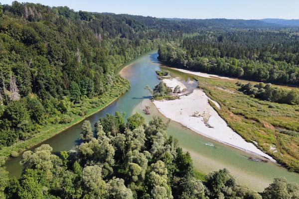 Drohnenfoto - Vogelperspektive - Drohne - Drohnenbild - Luftaufnahme - Fluss - Isar - Loisach - Icking