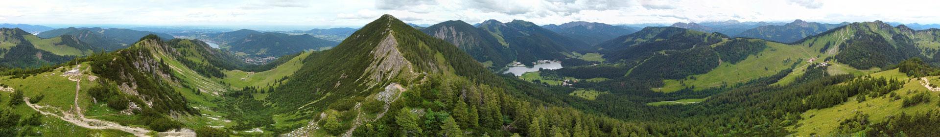 Panorama - Drohnenfoto - Landschaft - Bayern - Berge - See - Alpen - Sommer - Ausflug - Wanderung - Brecherspitze 360 Grad