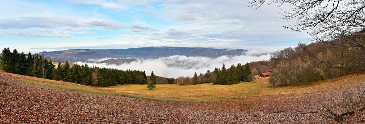 Panorama, Rhön, Aussicht, Herbst, Nebel, Farbenfroh