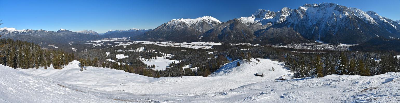 Panorama - Drohnenfoto - Luftaufnahme - Alpen - Berge - Winter - Mittenwald - Hoher Kranzberg