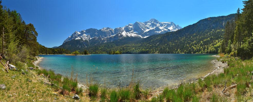 Panorama - Drohnenfoto - Landschaft - Bayern - Berge - See - Karibik - Türkis - Alpen - Sommer - Ausflug - Wanderung - Insel - Eibsee