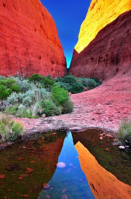 Australia - Australien -Zentralaustralien - Outback - Northern Territory - Landschaft - Blau - Rot - Berg - Spiegelung - Kata Tjuta - Olgas