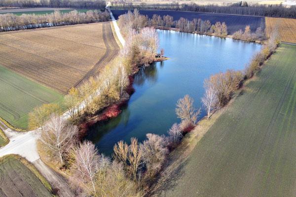 Drohnenfoto - Vogelperspektive - Drohne - Drohnenbild - Luftaufnahme - See, Hebertshausen