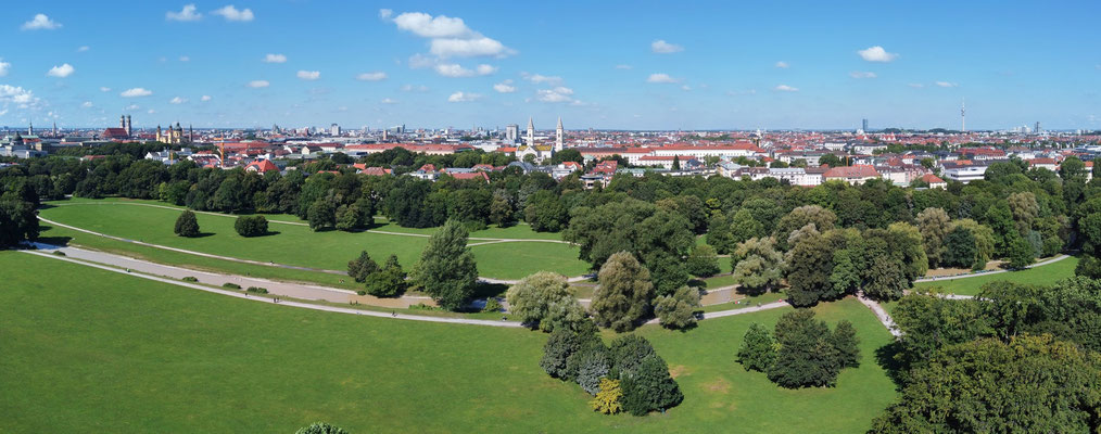 Panorama, München, Englischer Garten, Frauenkirche, Innenstadt, Olympiaturm, Sommer
