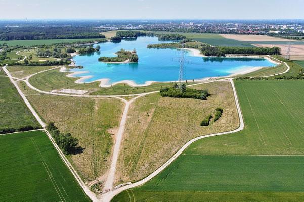 Drohnenfoto - Vogelperspektive - Drohne - Drohnenbild - Luftaufnahme - See - Sommer - Muster - Eching - Hollerner See