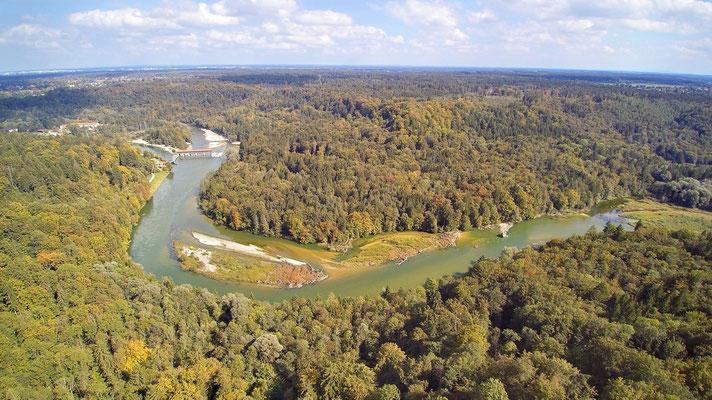 Drohnenfoto - Vogelperspektive - Drohne - Drohnenbild - Luftaufnahme - Fluss - Isar