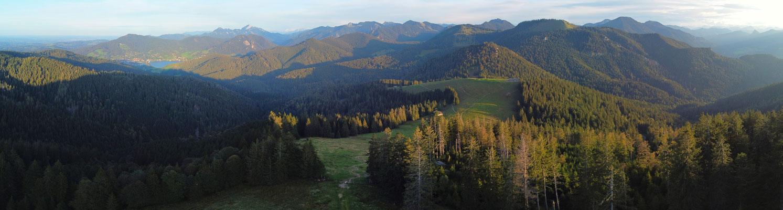 Panorama, Drohnenfoto, Kreuzberg, Gindelalmschneid, Tegernsee, Wald, Berge, Alpen