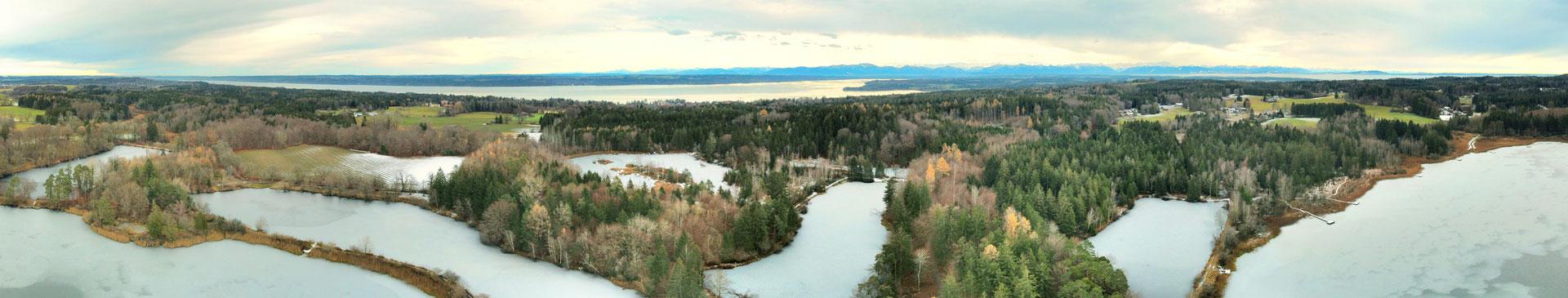 Panorama - Drohnenbild - Deixlfurter See - Starnberger See - Winter - Drohne - Drohnenfoto