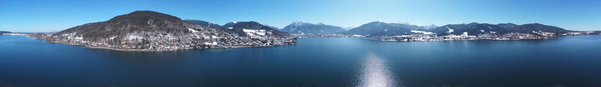 Panorama - Drohnenfoto - Landschaft - Winter - Schnee - Tegernsee - 360 Grad