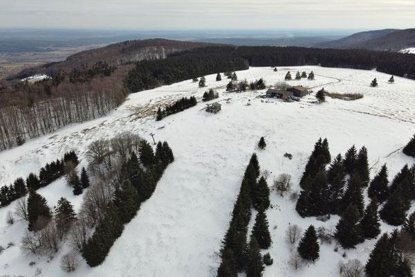 Vogelperspektive, Drohnenfoto, Drohnenbild, Luftaufnahme, Landschaft, Bayern, Berge, Wanderung, Winter, Wald, Schatten, Schnee, Rhön