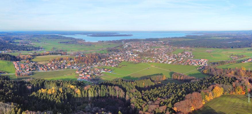 Panorama, Drohnenfoto, Chiemgau, Chiemsee