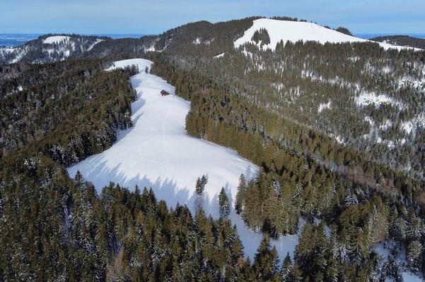 Vogelperspektive, Drohnenfoto, Drohnenbild, Luftaufnahme, Zwieselberg, Alpen, Winter, Schnee, Berge, Grat, Wanderung