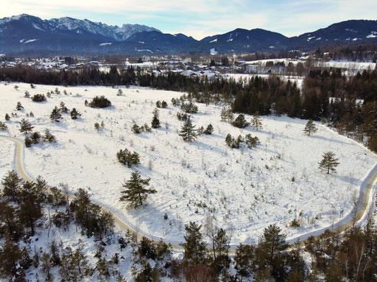 Vogelperspektive, Drohnenfoto, Drohnenbild, Luftaufnahme, Alpen, Winter, Schnee, Berge, Bad Tölz, Wandern