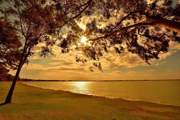 Australien, Australia, Südaustralien, South Australia, Landschaft, Sonne, See, Lake Bonney