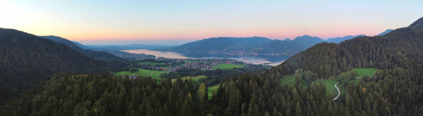 Panorama - Drohnenfoto - Landschaft - Bayern - Berge - Alpen - Sommer - Ausflug - Sonnenuntergang - Wanderung - Tegernsee - Söllbachtal