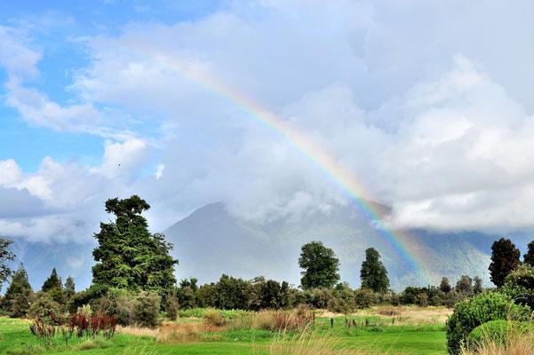 Neuseeland, Südinsel, Berge, Gletscher, Fox Glacier, Regenbogen