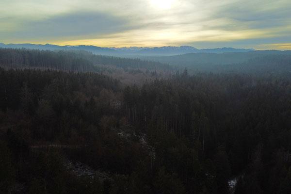 Vogelperspektive, Drohnenfoto, Drohnenbild, Luftaufnahme, Sonnenuntergang, Alpen