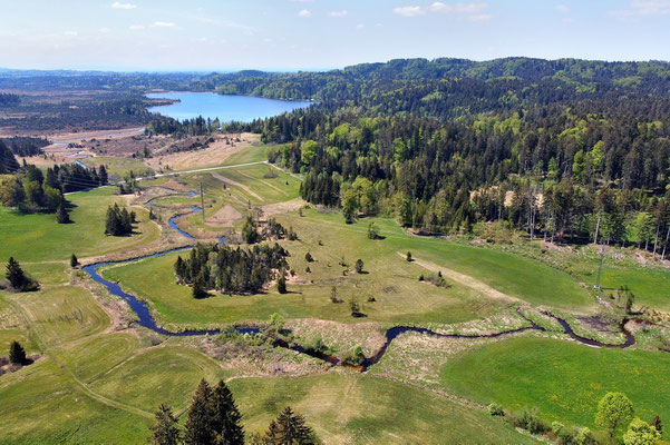 Drohnenfoto - Vogelperspektive - Drohne - Drohnenbild - Luftaufnahme - See - Fluss - Kirchsee