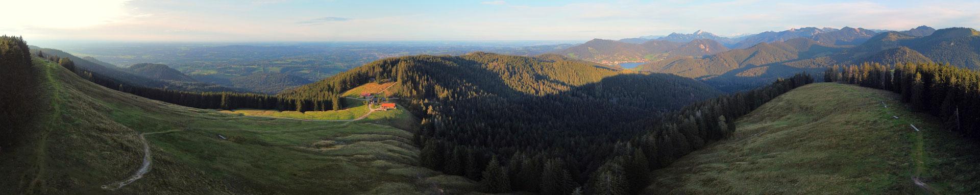 Panorama, Drohnenfoto, Kreuzberg, Gindelalm, Gindelalmschneid, Tegernsee, Wald, Berge, Alpen