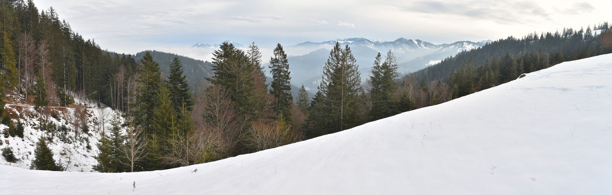 Panorama - Berge - Alpen - Wanderung - Winter - Gindelalm