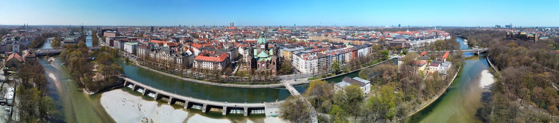 Panorama - Drohnenfoto - Luftaufnahme - Landschaft - Städte - München - Fluss - Isar - 180 Grad - Innenstadt München