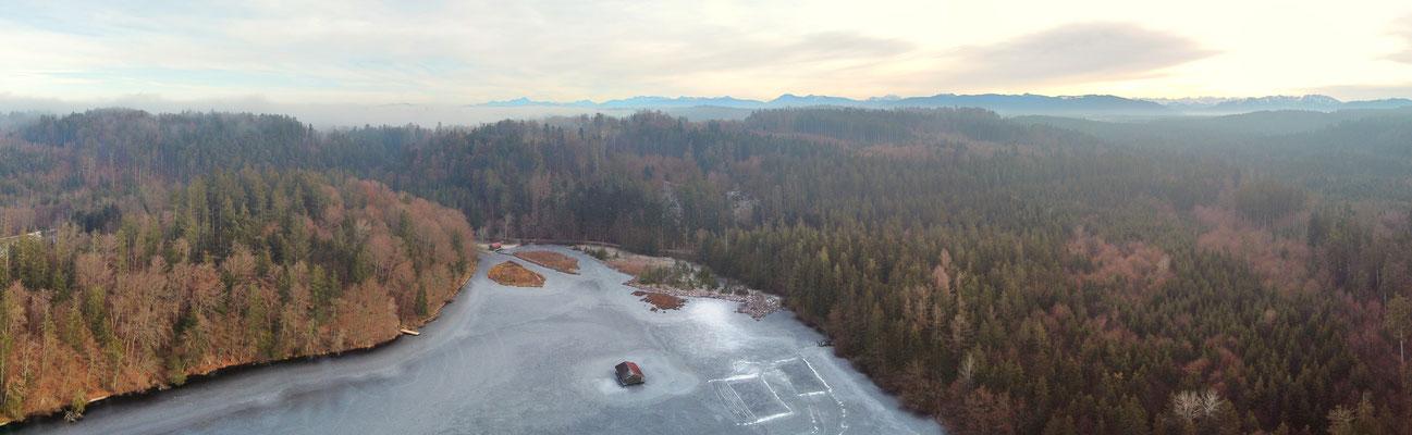 Panorama - Drohnenbild - Hackensee - Eis - Winter - Drohne - Drohnenfoto