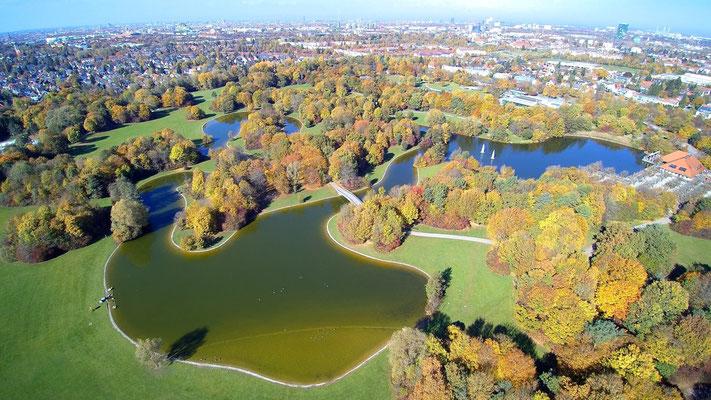 Drohnenfoto - Vogelperspektive - Drohne - Drohnenbild - Luftaufnahme - See - München - Stadt - Ostpark