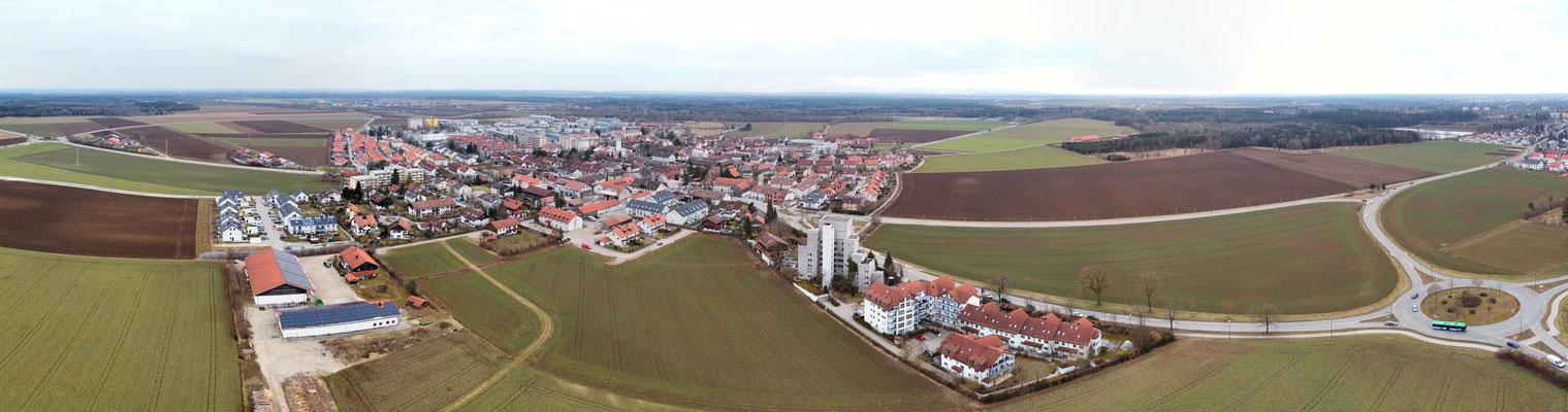 Panorama - Drohnenfoto - Luftaufnahme - Landschaft - Gemeinde - Putzbrunn