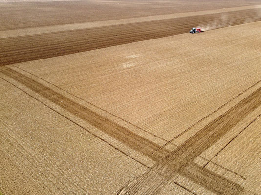 Vogelperspektive, Drohnenfoto, Drohnenbild, Luftaufnahme, Feld, Braun, Streifen, Flecken, Sommer, Acker, Traktor