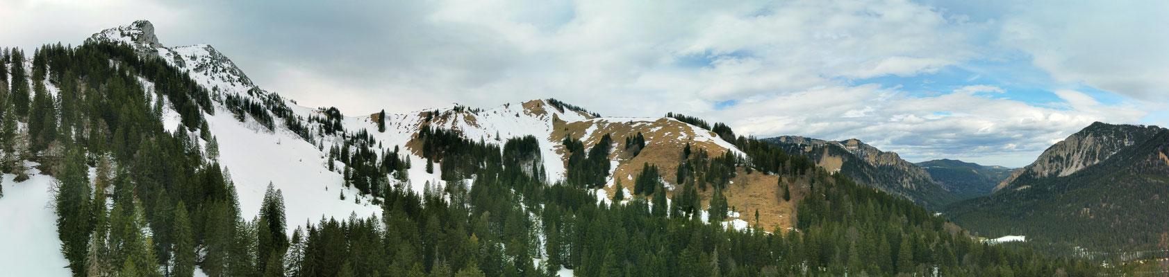 Panorama - Drohnenfoto - Landschaft - Bayern - Berge - Alpen - Winter - Ausflug - Wanderung - Tegernsee - Kreuth - Buchsteinhütte - Tegernseer Hütte