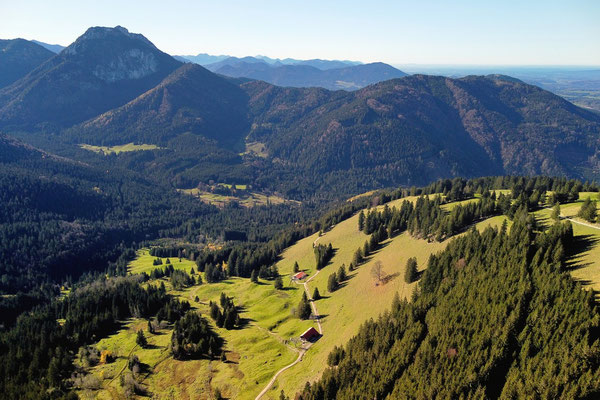 Vogelperspektive, Drohnenfoto, Drohnenbild, Luftaufnahme, Berge, Alpen, Sommer, Brannenburg, Wanderung, Chiemgau