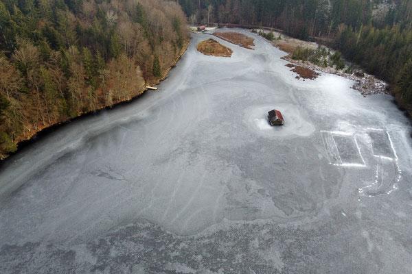 Drohnenfoto - Vogelperspektive - Drohne - Drohnenbild - Luftaufnahme - Bayern - Hackensee - Winter - Wald