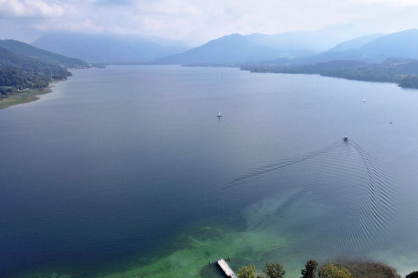 Drohnenfoto - Vogelperspektive - Drohne - Drohnenbild - Luftaufnahme - See - Tegernsee