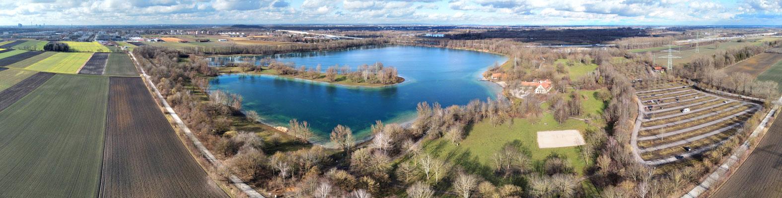 Panorama - Drohnenfoto - Luftaufnahme - Feringasee - Unterföhring