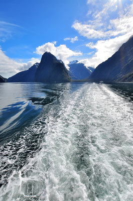 Neuseeland, Südinsel, Wellen, See, Berge,  Milford Sound