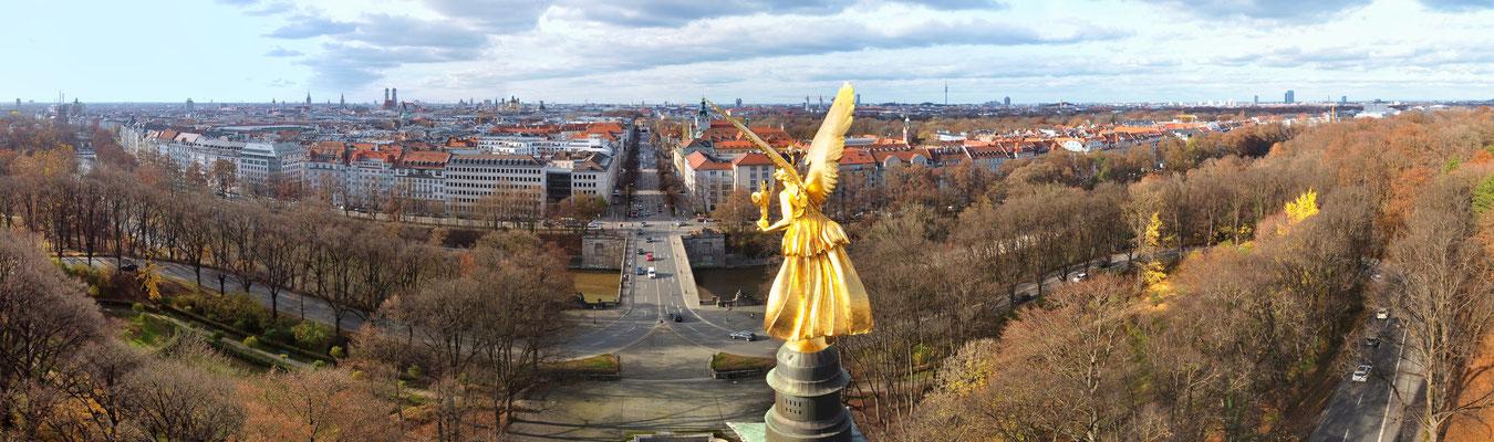 Panorama, Luftaufnahme, München, Innenstadt, Friedensengel