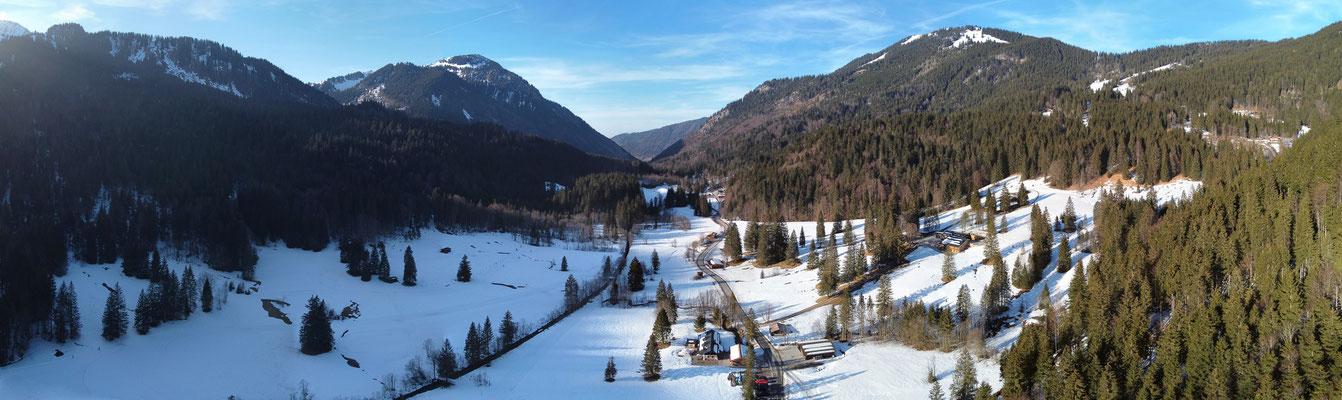 Panorama - Drohnenfoto - Luftaufnahme - Alpen - Berge - Winter - Schnee - Sutten - Bayern