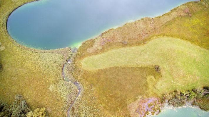 Vogelperspektive, Drohnenfoto, Drohnenbild, Schattenspiel, Luftaufnahme, Bayern, Feld, Grün, Streifen, Bäume, Schatten, Muster, Flecken, See