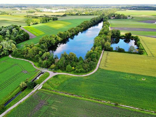 Drohnenfoto - Vogelperspektive - Drohne - Drohnenbild - Luftaufnahme - See - Abfanggraben - München - Aschheim