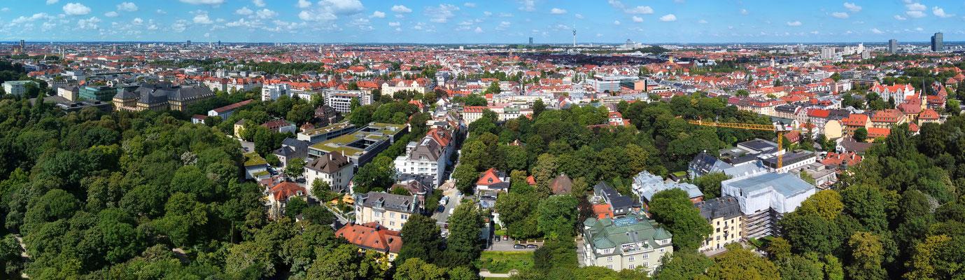 Panorama, Drohnenfoto, München, Englischer Garten, Frauenkirche, Innenstadt, Olympiaturm, Sommer