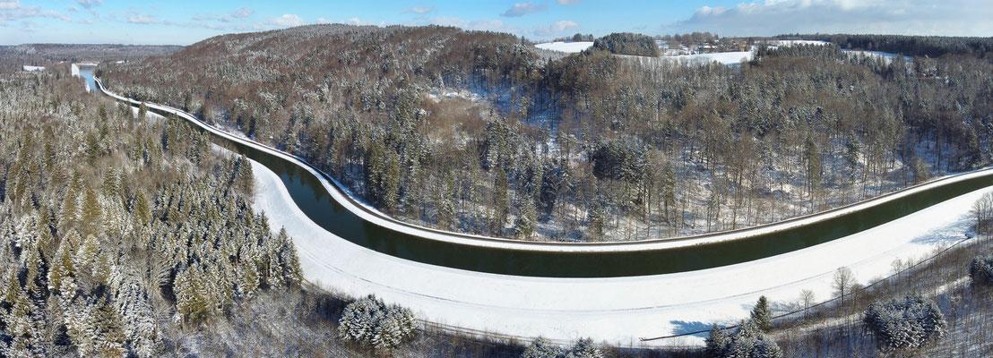Panorama - Drohnenfoto - Winter - Schnee - Isar - Bei Schäftlarn