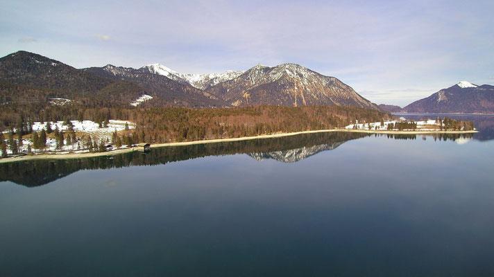 Vogelperspektive, Drohnenfoto, Drohnenbild, Luftaufnahme, Bäume, Wald, Berge, Alpen beim Walchensee, Spiegelung