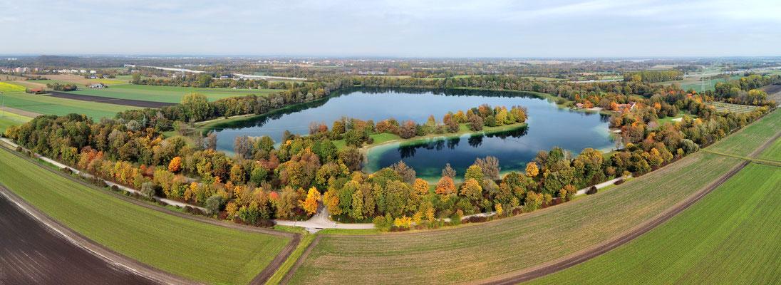 Panorama, Drohnenfoto, Feringasee, Unterföhring, Herbst
