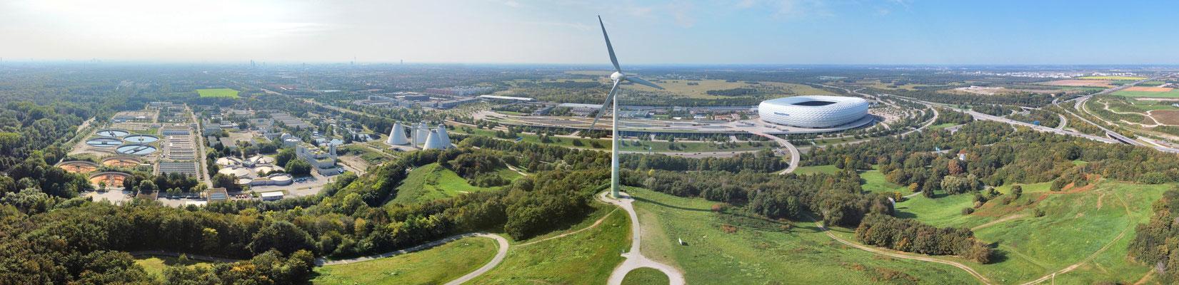 Panorama, Drohnenfoto, München, Allianz Arena, Fröttmaning, Windrad