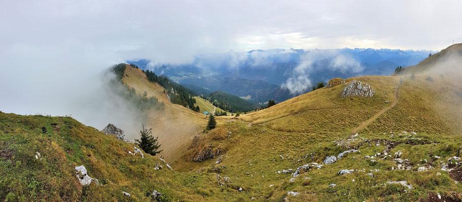 Panorama - Drohnenfoto - Landschaft - Herbst - Berge - Alpen - Ausflug - Wanderung - Brauneck - Großer Höhenweg